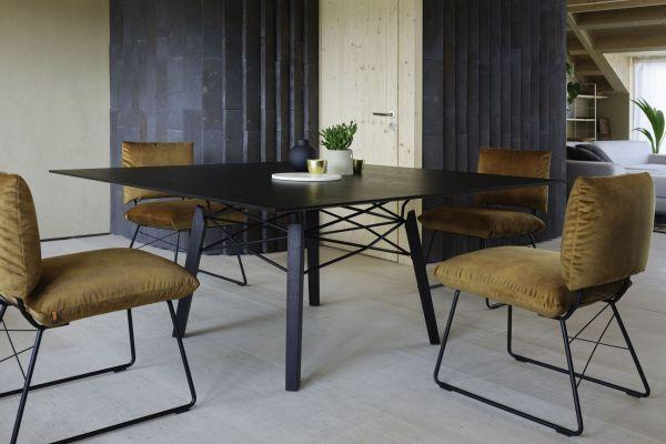 Table Float Carré Bois Noir Métal Noir